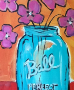 Mason Jar of Flowers Painting Party