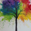 Rainbow Tree Painting Party