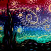 A painting of whimsical night