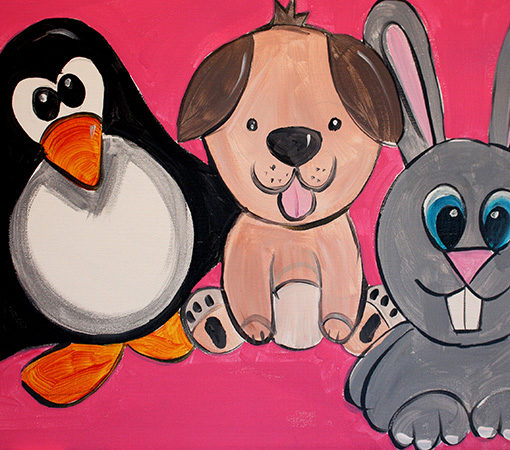 Cuddly Trio Kids Painting