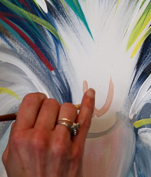 Artist close-up painting Angel Wings